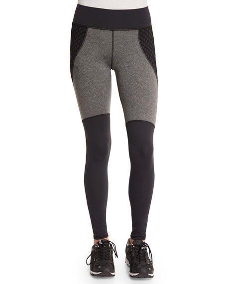 Michi Shadow Net-Insert Stretch Sport Leggings, Charcoal