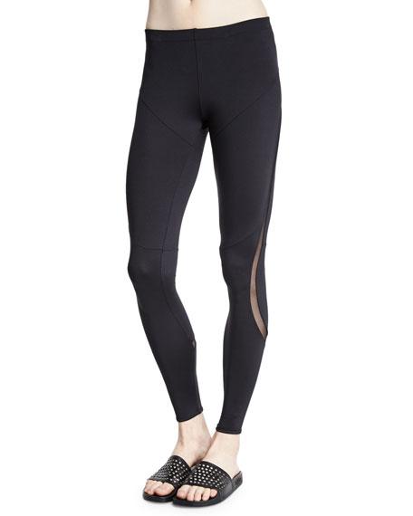 Norma Kamali Diagonal Sport Leggings W/Mesh Inset, Black