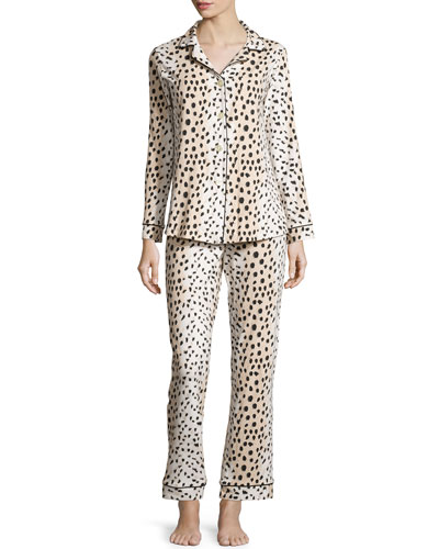 Animal-Print Two-Piece Pajama Set, Leopard