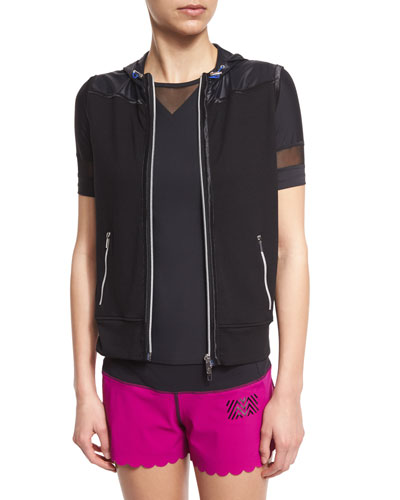 Zip-Up Hooded Gilet Vest, Black