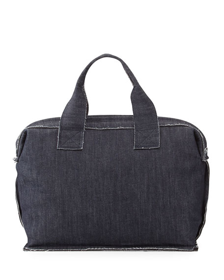 Norma Kamali Small Denim Carpet Bag, Indigo
