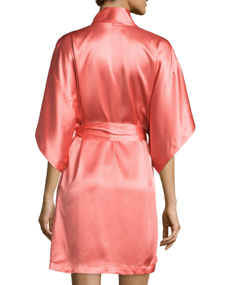 Jasmine Short Silk Wrap Robe