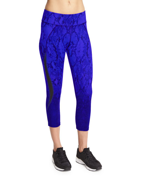 Michi Medusa Python-Print Cropped Leggings