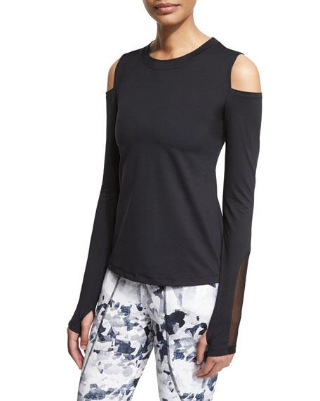VarleyRennie Cold-Shoulder Sport Sweater, Black