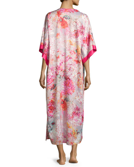 Autumn Floral-Print Long Caftan, Multi