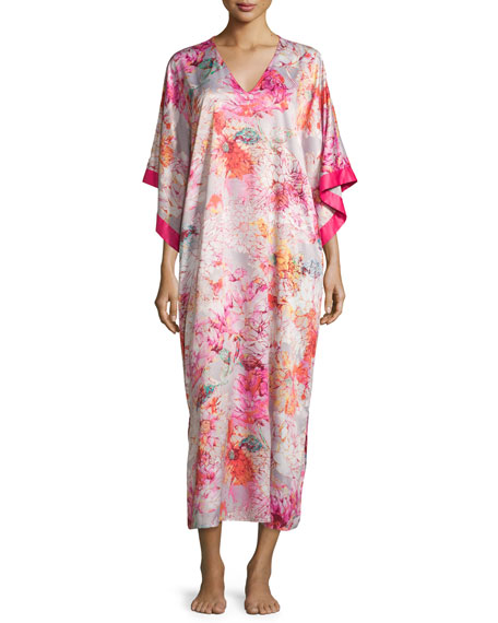Natori Autumn Floral-Print Long Caftan, Multi