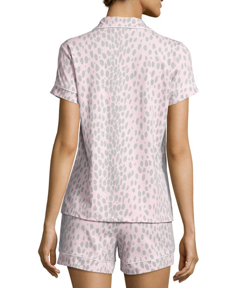 Animal-Print Short Pajama Set, Pink/Gray, Plus Size