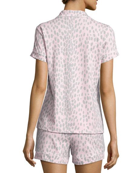 Animal-Print Short Pajama Set, Pink/Gray, Plus Size