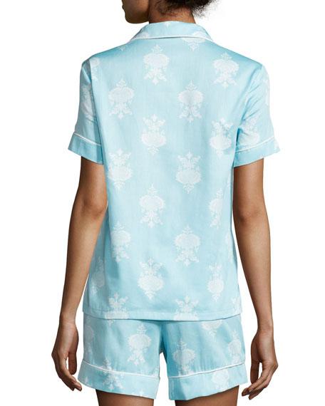 Chandelier-Print Short Pajama Set, Blue, Plus Size