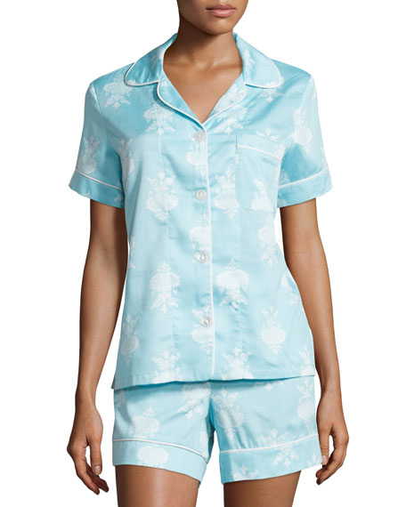 Chandelier-Print Short Pajama Set, Blue, Plus Size