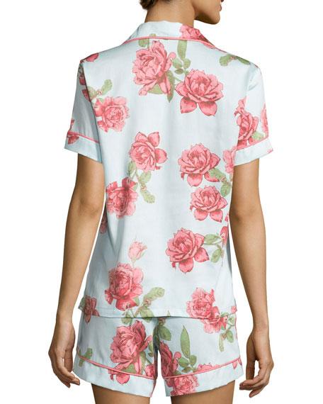 Rose-Print Shorty Pajama Set, Light Blue, Plus Size