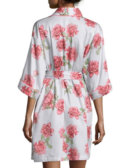 Rose-Print Short Kimono Robe, Light Blue