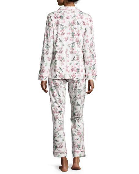 Bird-Print Toile Pajama Set, Ivory, Plus Size