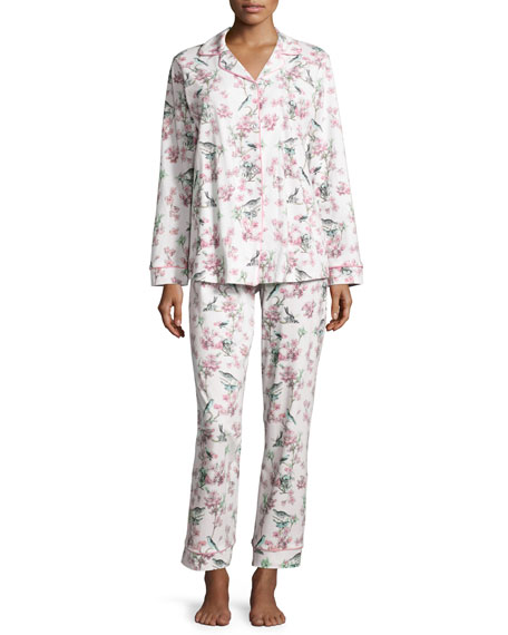Bird-Print Toile Pajama Set, Ivory, Plus Size