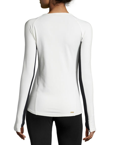 Run Long-Sleeve Crewneck Athletic Tee, Winter White