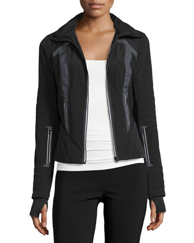 Wind-Resistant Colorblock Jacket, Black