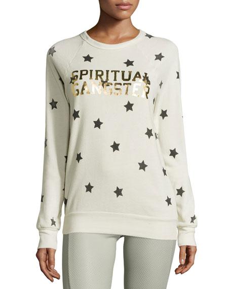 Spiritual Gangster Metallic Varsity Star-Print Sweatshirt