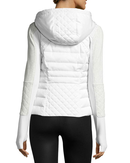 3-in-1 Satin Packable Moto Jacket & Vest, White