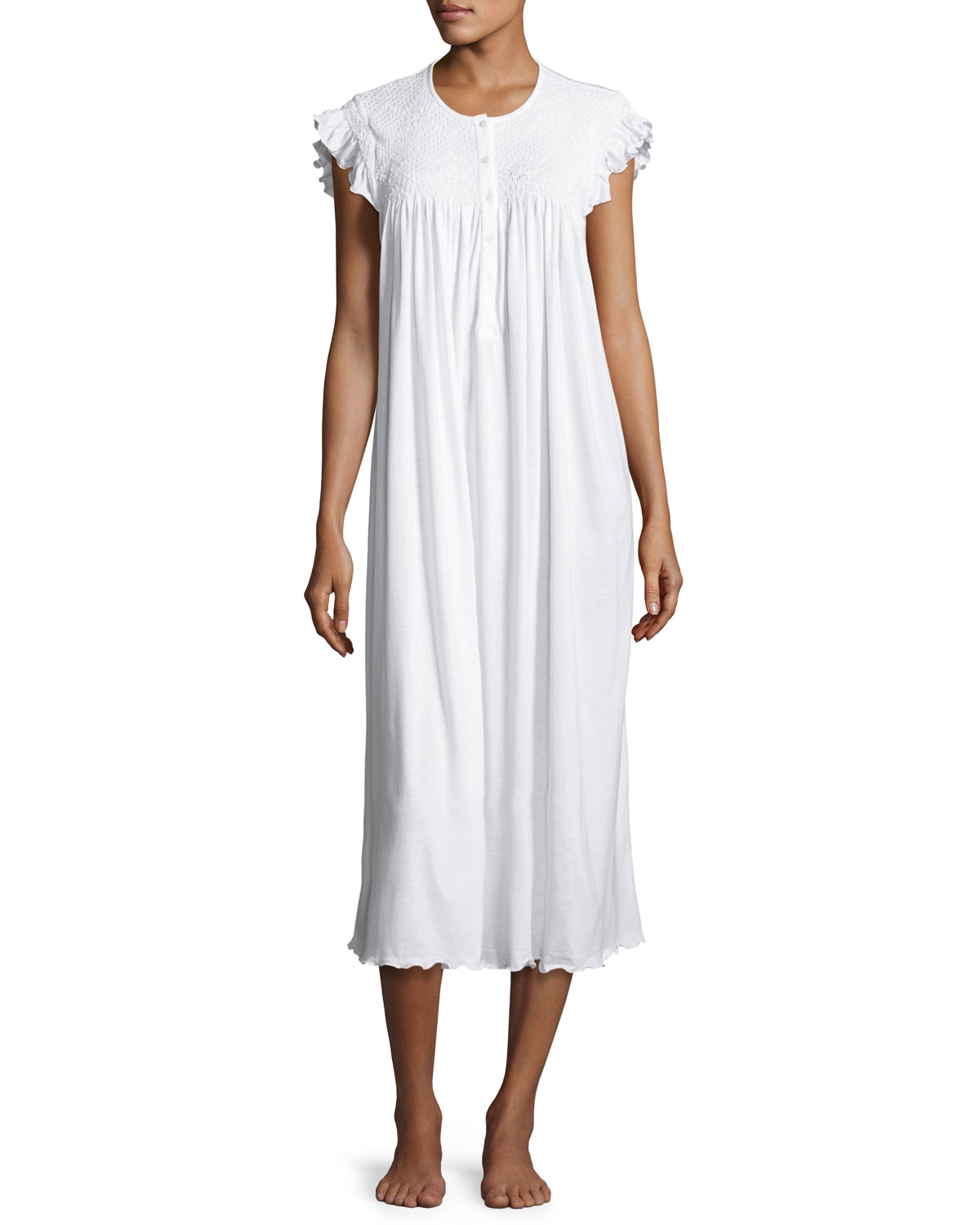 P Jamas Daisy Embroidered Long Cotton Nightgown  81127924f