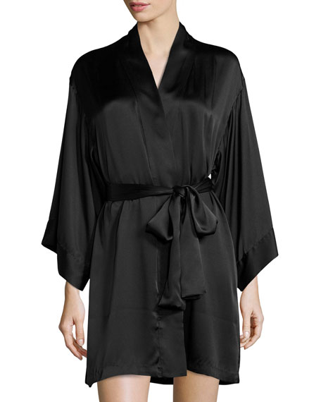 Key Silk Wrap Robe, Black