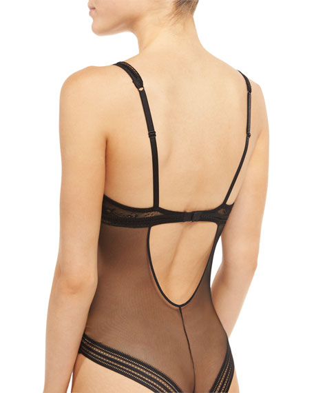Miss Lejaby Sheer Lace Bodysuit, Black