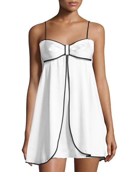 bow-front satin chemise, white/black
