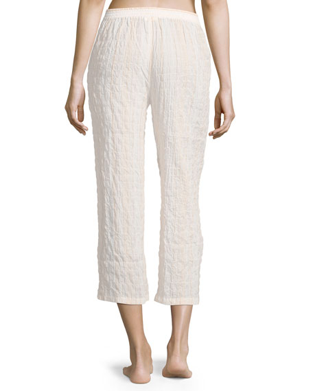 Stripe-Print Lounge Crop Pants, Pina Colada