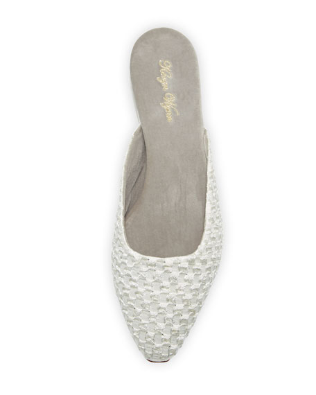 Pascal Cotton-Blend Slipper, White/Silver