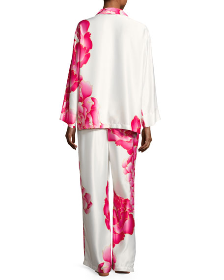 Image 3 of 4: Peony Satin Printed Pajama Set, White Pattern