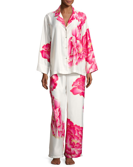Image 1 of 4: Peony Satin Printed Pajama Set, White Pattern