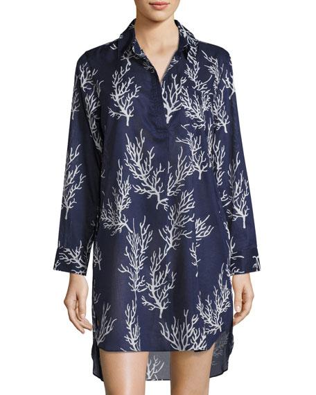 Coral-Print Sleepshirt