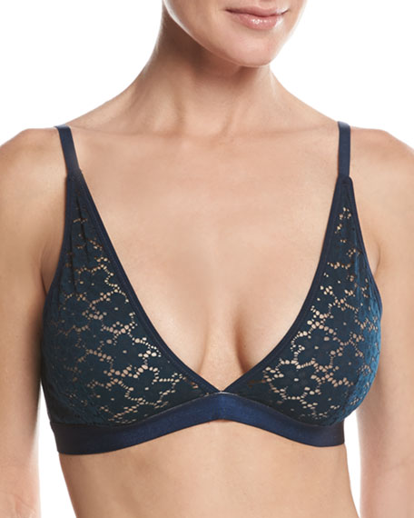 Skin Organic Cotton-Blend Lace Bralette, Navy