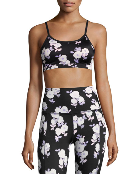 x kate spade new york luxe floral cinched bow bra, black