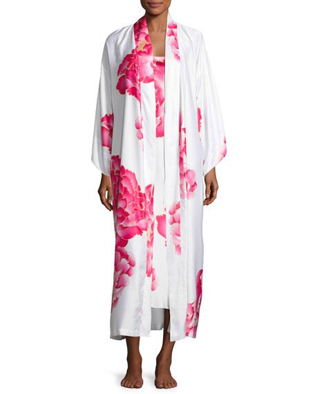 Natori Peony Long Satin Robe, Multi Pattern