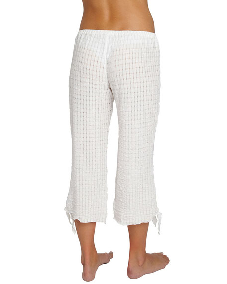 Paz Tie-Cuff Cropped Lounge Pants, White