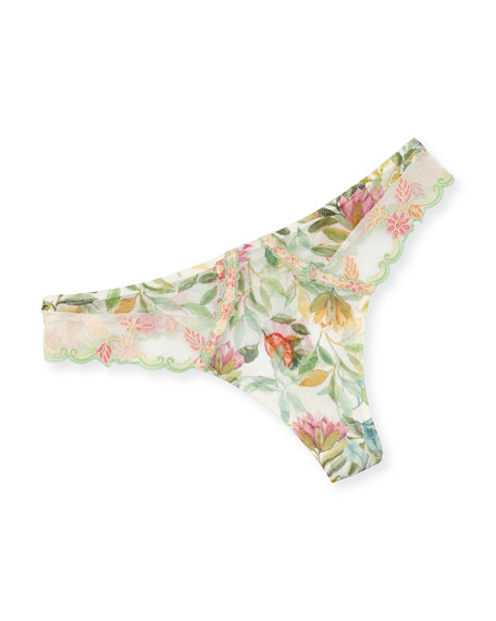 Lise Charmel Bouquet Tropical Embroidered Thong and Matching