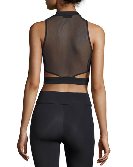 Olympia Zip-Front Mesh-Back Crop Top, Black
