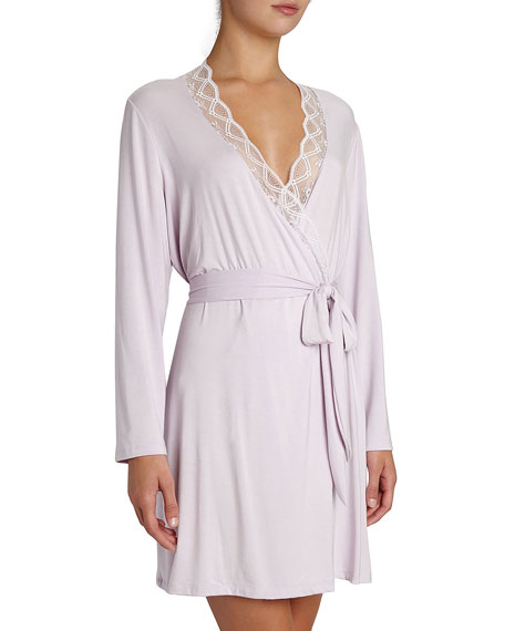 Eberjey Georgina Lace-Trim Robe, Lilac