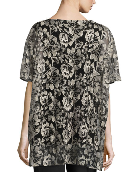 Embroidered Mesh Caftan Top, Natural/Black, Plus Size