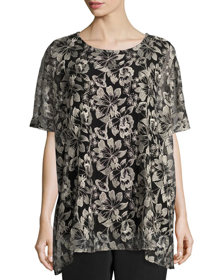 Caroline Rose Embroidered Mesh Caftan Top, Natural/Black, Plus