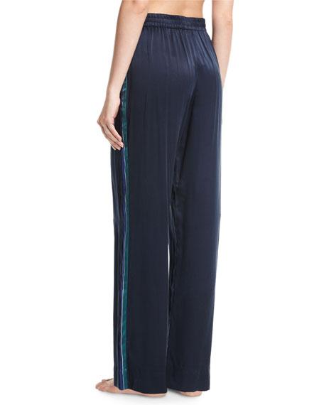 Midnight Stripe Silk-Satin Pajama Pants