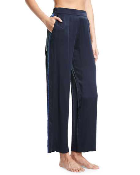 Asceno Midnight Stripe Silk-Satin Pajama Pants