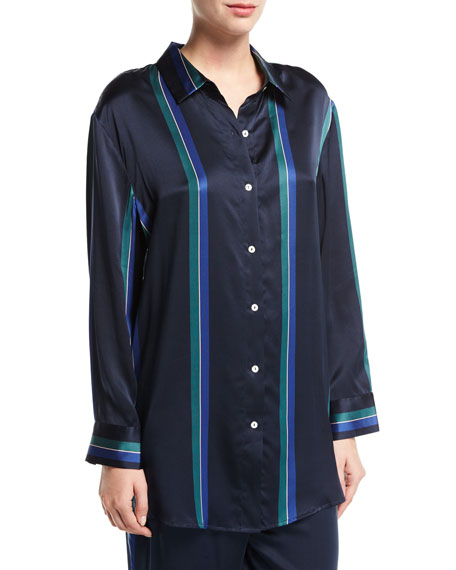 Asceno Midnight Stripe Silk-Satin Pajama Top