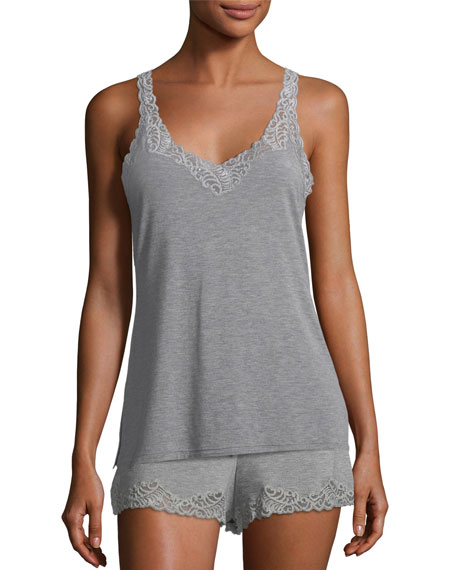 Feathers Lace-Trim Tank