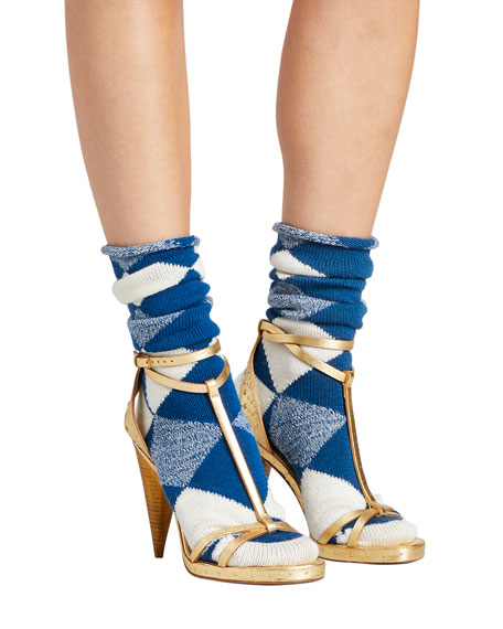 Burberry Merino Wool Argyle Check Socks, Cobalt