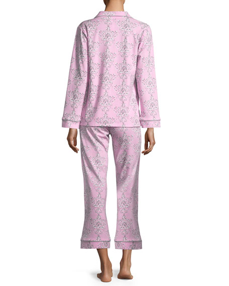 Painted Damask Long-Sleeve Classic Pajama Set, Plus Size