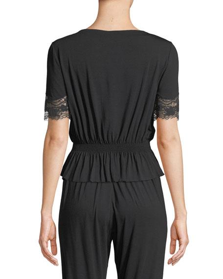 Lapis Lace-Trim Lounge Shirt