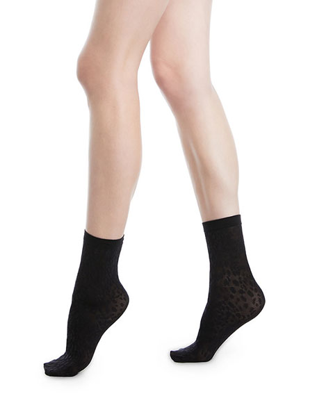 Avril Leopard Net Socks