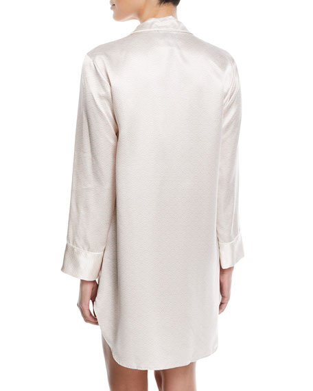 Edo Long-Sleeve Silk Sleepshirt