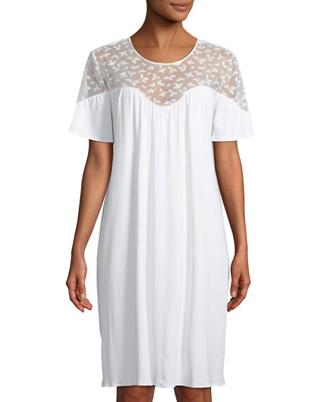 Hanro Iris Lace-Yoke Short Nightgown